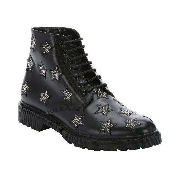 Saint Laurent Black leather star studded lace-up combat boots ($955) ❤ liked on Polyvore featuring shoes, boots, ankle booties, black, leather booties, black combat boots, black lace up booties, studded combat boots and lace up booties