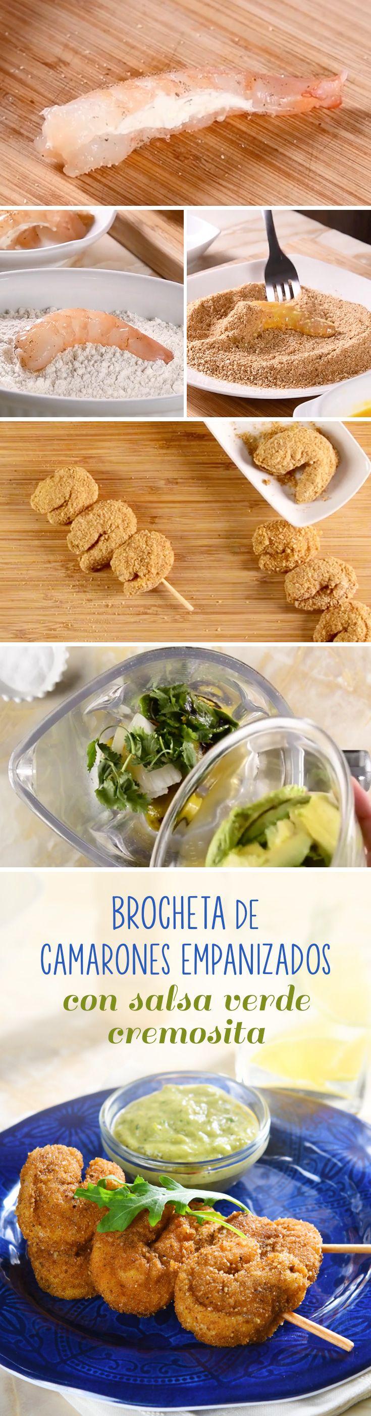 Receta de camarones empanizados rellenos de queso y acompañados con guacamole. La combinación de estas brochetas de camarones crujietes es lo que necesitas esta #cuaresma