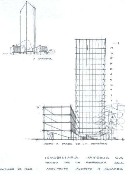 Dibujo del Edificio de Jaysour, Paseo de la Reforma 364