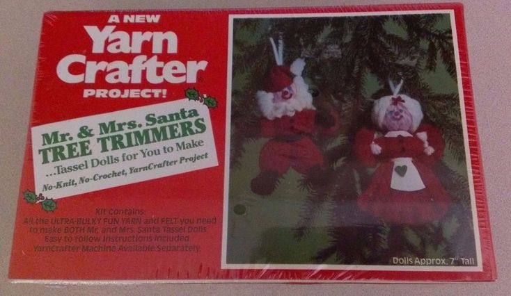 NOS Vintage Yarn Crafter Santa Mrs. Claus Tree Trimmer Ornament Tassel Doll Kit #YarnCrafterProject