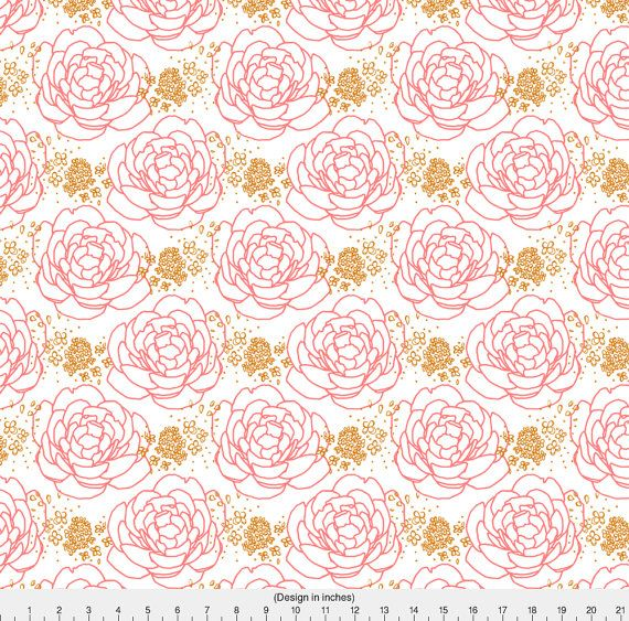 1 yard (or 1 fat quarter) of Peony Pink Gold by designer mrshervi. Printed on Organic Cotton Knit, Linen Cotton Canvas, Organic Cotton Sateen, Kona Cotton, Basic Cotton Ultra, Cotton Poplin, Minky, Fleece, or Satin fabric. Available in yards and quarter yards (fat quarter). This fabric is digitally printed on demand as orders are placed. Unlike conventional textile manufacturing, very little waste of fabric, ink, water or electricity is used. We print using eco-friendly, water-based inks on…