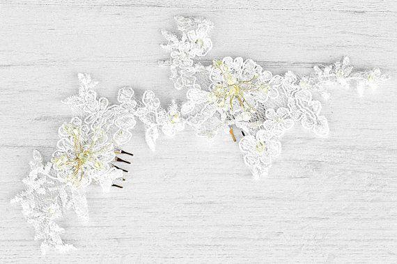 Bruiloft kant haar liaan. Bruids lace haartoebehoren. Handgemaakte bridal kant haar stuk. Bloem de kroon. Bruids fascinator. Bruiloft haar kroon.