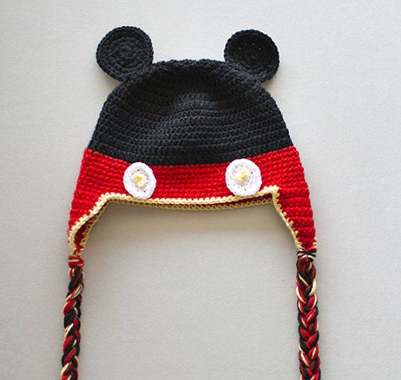 Crochet Newborn Hat, Newborn Photography Prop, Mickey Mouse Hat