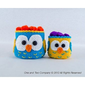 Owl Baskets - 2 sizes - Crochet Pattern / One & Two Company $3.50