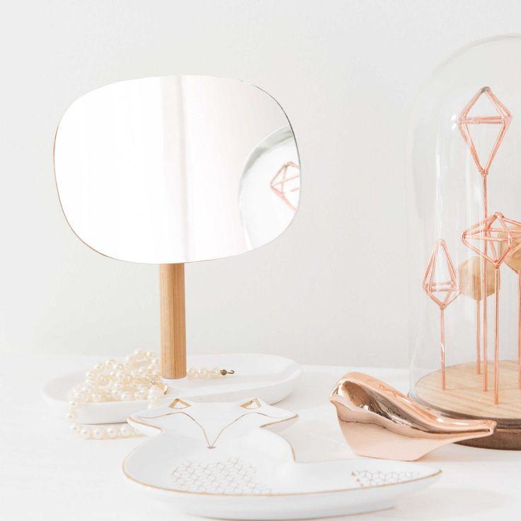 Specchio in bambù bianco H 19 cm MALMO