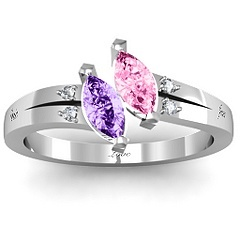 Beautiful #TwinMarquise #Birthstones and #Diamond #Mothers #Ring