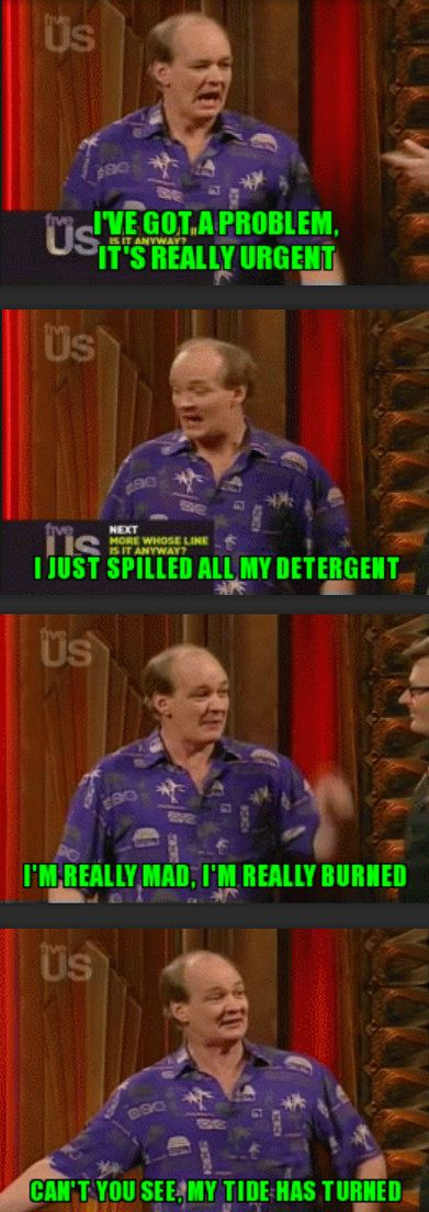 "When he actually came up with a pretty good rap-pun. | 27 Hilarious ""Whose Line"" Moments That Prove Colin Mochrie Is The Best"