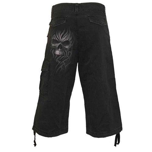Death Rage, gothic metal fantasy tribal schedel cargo driekwart broek zwart