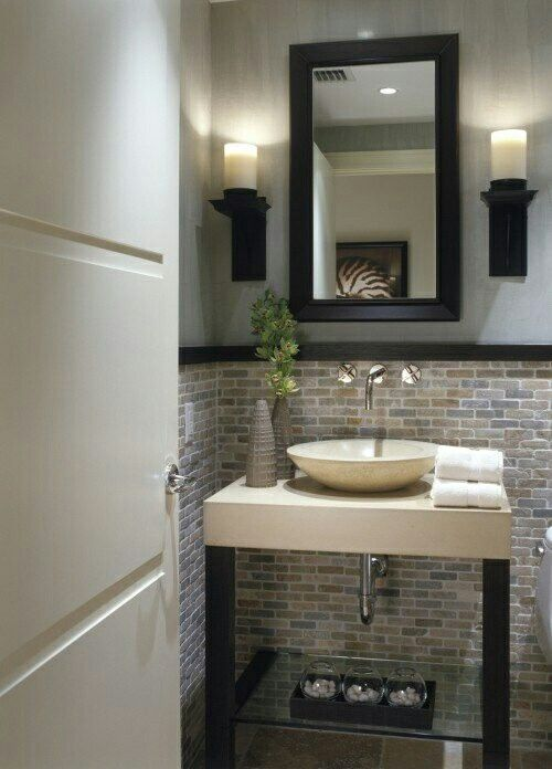 Gorgeous small bathroom and backsplash//