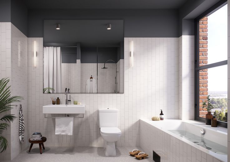 Oscar Properties #oscarproperties Kvarnholmen, Bageriet, bathroom, view, design, interior, bathtub, brick