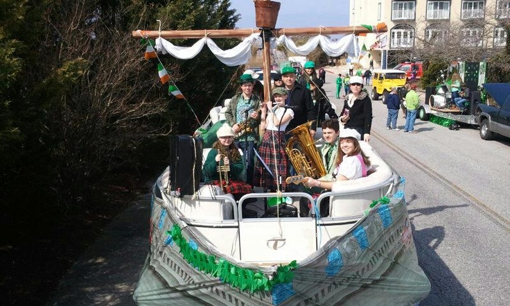 """http://www.grandhoteloceancity.com/  The Grand's """"Shippin' off to Boston"""" St. Patrick's Day float! Featuring Band students from Indian River H.S.-DE, Red Lion H.S.-PA, and SDSA-DE performing Shippin' off to Boston by the Dropkick Murphys. We were given an HONORABLE MENTION second only to Seacrets!! — at Ocean City, MD."""
