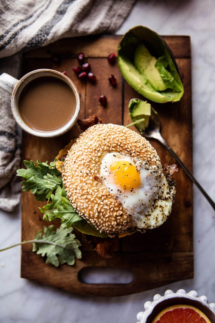 Egg In A Hole Avocado, Bacon, Egg And Cheese Bagel