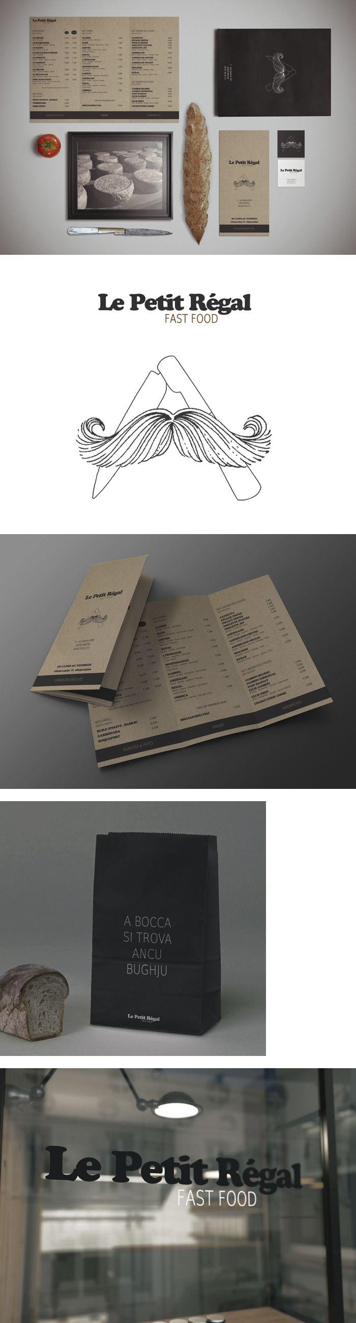 LE PETIT REGAL (identité visuelle) Création de l'identité visuelle d'une enseigne de restauration rapide installée au cœur de Bastia en Corse. Le concept du restaurant : associer l'esprit fast-food à la culture culinaire corse. Plus de détails sur www.davidbaille.com