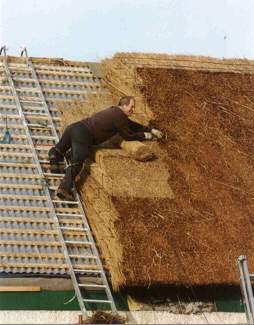 roof thatcher - yeah, you can tell that's a hard, laborious job.