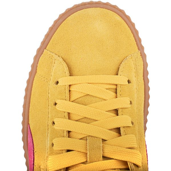 Fenty x Puma by Rihanna Cleated Creeper Suede Yellow // Plateau suede... ($185) ❤ liked on Polyvore featuring shoes, sneakers, suede platform sneakers, sport sneakers, platform sneakers, creeper sneakers and puma shoes