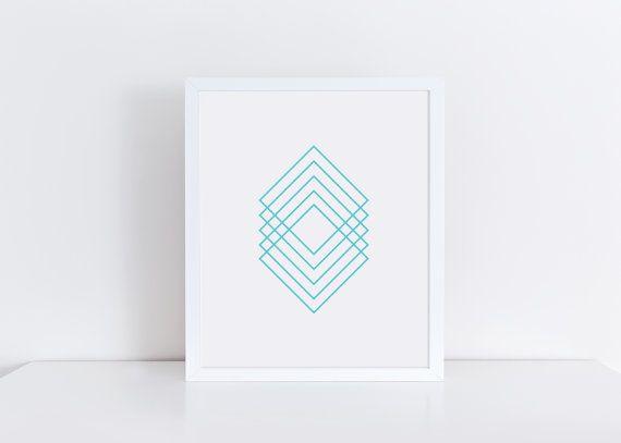 TURQUOISE BLUE Geometric Art Minimalist Art by MoonbirdPrints