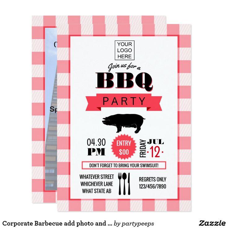Corporate Barbecue add photo and logo Invitation