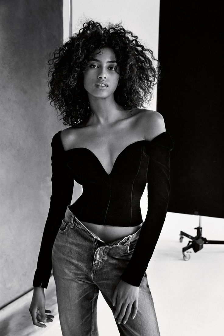 Imaan Hammam in Saint Laurent photographed by Patrick Demarchelier for Vogue UK, February 2017.