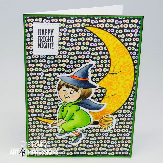 Art Impressions Rubber Stamps: Ai Spinners: Witch Spinner (Sku#4679) ... handmade Halloween card.