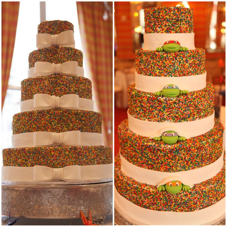 Front and back of our Ninja Turtle wedding sprinkle cake. 5 tier, rainbow confetti sprinkle wedding cake and fondant ribbon by http://www.thecakeguys.com/, Ninja Turtle fondant heads by Sweet Treats by Jess. Photo by Micah Alexander Photography.
