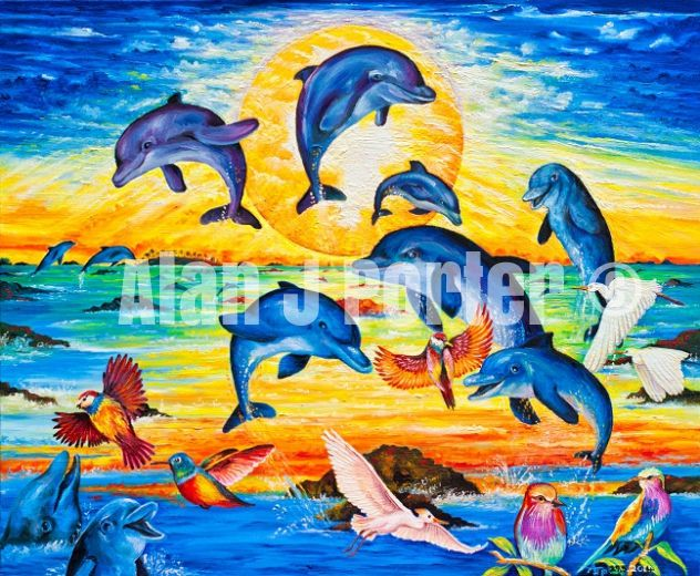 #alanjporterart #kompas #art #animals #dolphins #paintings #originals #oil #originaldesign #birds #sunset #sky #fish #sea