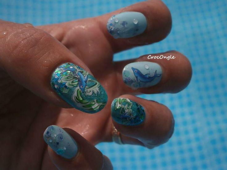 Nail art au fond de l'océan WD dauphins