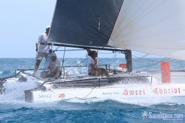 SeaCart 26 trimaran ''Sweet Chariot'' at the Samui Regatta 2012.