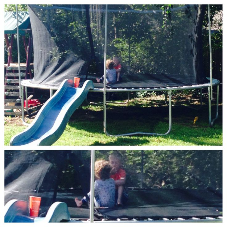Repurpose a swing set slide!). Our swing set broke and the slide was too good to get rid of.  The kids love it!  We added water to the trampoline and it was even better! Outside Play.  Trampoline Slide.