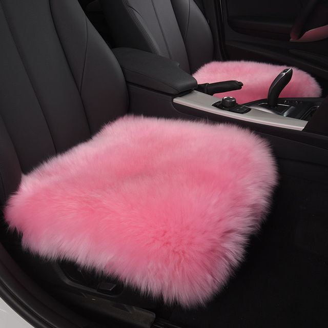 Supply New Winter Long Wool Car Seat Cover Plush Seat Pad Pure Wool Mat Used in Home and Office For Women - Pink & Red