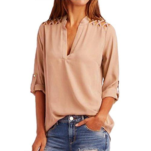 (Hot Sale !Chiffon T-Shirt,BeautyVan Fashion Beautiful Women Chiffon Solid Tab-Sleeve Hollow Out Blouse T ShirtClothes,Multiple Colors Available (Asian Size:L2, Pink)) Buy-Accessories.net