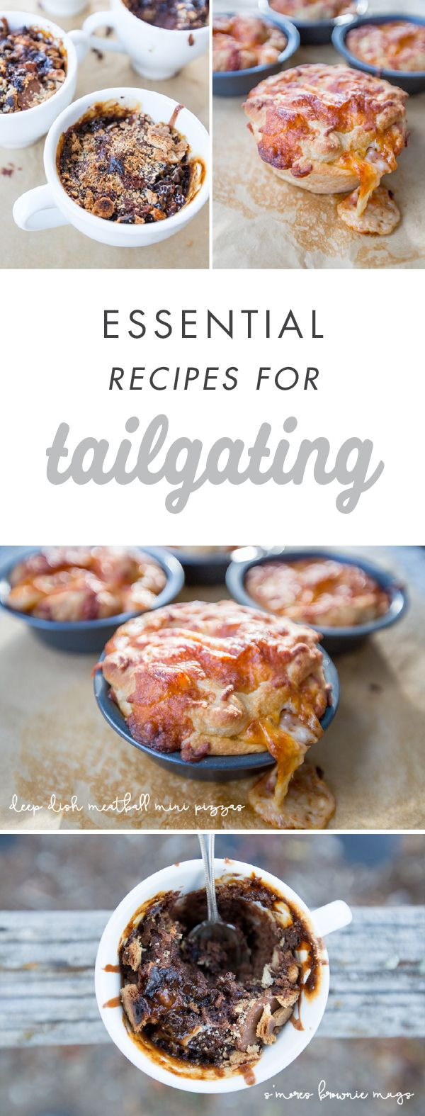 Score a touchdown with your party guests when you serve up these delicious tailgating recipes—like Deep Dish Meatball Mini Pizzas and S'mores Brownie Mugs. From appetizers to dessert it looks like your Game Day menu is set!