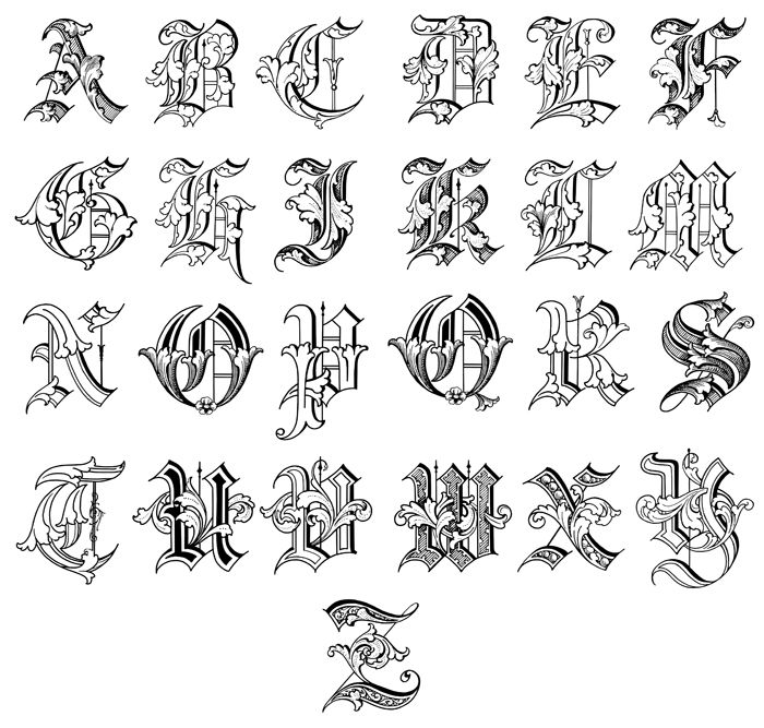 Old english alphabet a z image fancy letters