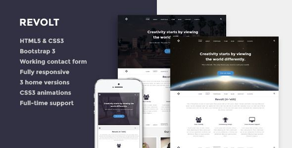 Revolt - Responsive One-Page HTML5 Template   http://themeforest.net/item/revolt-responsive-onepage-html5-template/7536550?ref=damiamio       Revolt – Responsive One-Page HTML5 Template Revolt is a unique, clean and functional responsive one page HTML5 template carefully crafted for creative professionals,agencies and studios. Main Features  HTML5 & CSS3  Twitter Bootstrap 3 Retina Display  Working contact from  Fully responsive  3 home variations  CSS3 animations  Portfolio expander…
