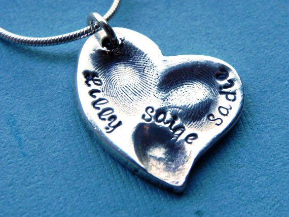 Fingerprint Jewelry 3 Childs Fingerprint Silver Heart by LilyBuds