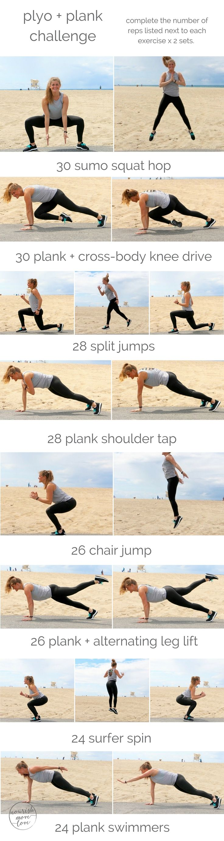 a challenging plank + plyometric workout; burn calories, build explosive strength, and seriously tone your torso using just your bodyweight.