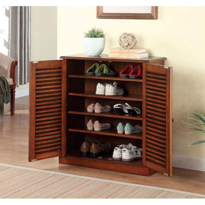 Polton 20 Pair Shoe Storage Cabinet Wood Shoe Rack Shoe Cabinet