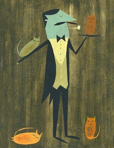 Hugo, cat servant.  Limited edition print by Matte Stephens.. 35.00, via Etsy.