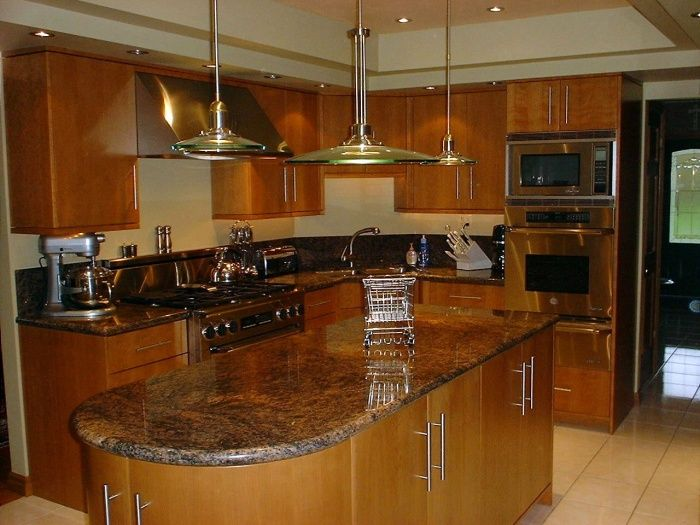 Natural Cherry Kitchen Cabinets raised peninsula in kitchen cabinet on one side | re extra row of