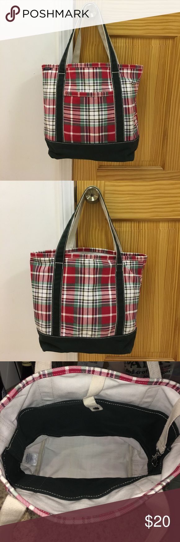 Land's End Tote Bag Bright red, green and white Land's End Tote in excellent condition. Perfect for a carry all or a work bag especially around Christmas. Used only a few times. No apparent wear. Smoke free home. No trades. Lands' End Bags Totes