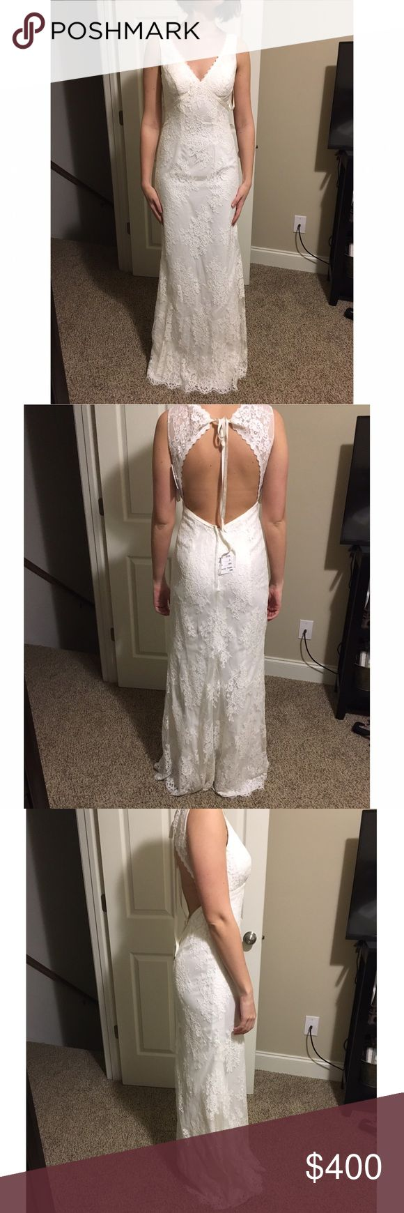 "Lace wedding dress Ivory all over lace, empire waist, keyhole back. I bought it at David's Bridal for a beach wedding then changed my mind on location and picked a different dress! Tags still on. Only had a month. Cup padding added. No alterations. I'm 5'6"" 117 pounds. Dresses Wedding"
