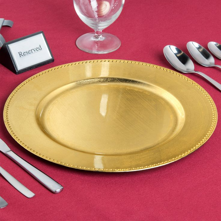 "Add a pop of color to your dining area with this Charge It by Jay! 1180005AP-F 13"" round gold beaded melamine charger plate! Boasting a rustic, upscale appearance, this charger plate is great for enhancing food presentations at your restaurant, catered event, or outdoor reception. Its ample 13"" diameter provides plenty of room for serving soups, salads, and entrees. Plus, its classic, beaded rim, slightly worn edging, and bold, gold color will further accent your table setting.<b..."
