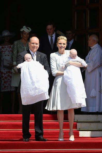 Prince Albert II of Monaco, Princess Gabriella of Monaco, Prince Jacques of Monaco and Princess Charlene of Monaco attend The Baptism Of The Princely Children at The Monaco Cathedral on May 10, 2015 in Monaco, Monaco.