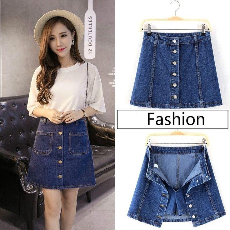 Women Denim Skirt Culottes Front Button A Line Jeans Mini Short Dress Blue Jeans #Unbranded #Aline #Casual