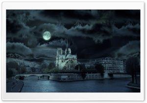 Notre Dame de Paris At Night HD Wide Wallpaper for Widescreen