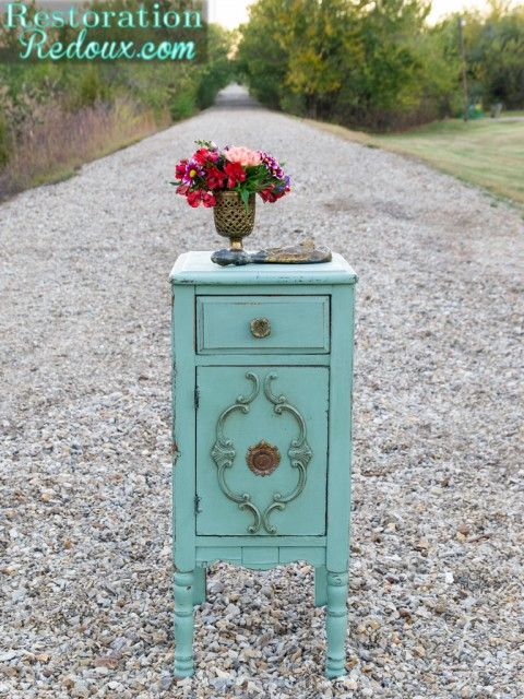 Milkpainted Antique Side Table http://www.restorationredoux.com/milkpainted-antique-end-table/