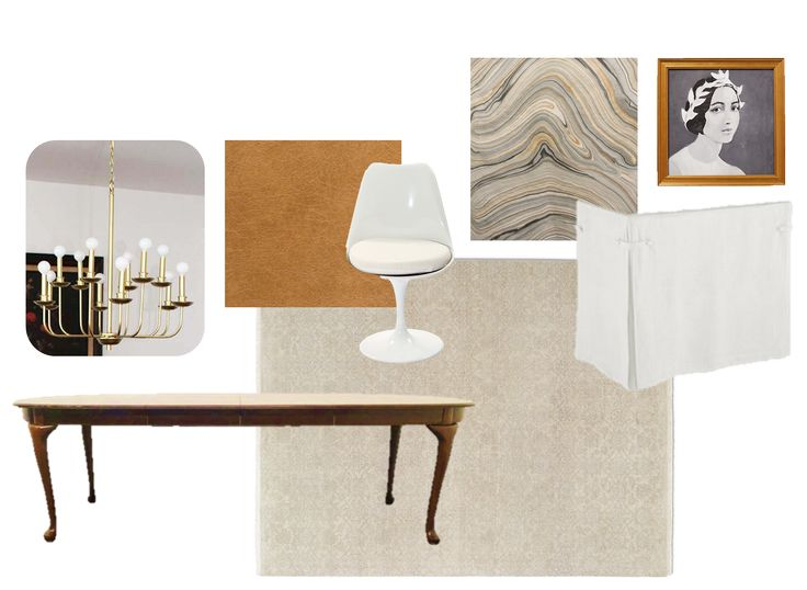 Contemporary dining room: Queen Ann dining table, georgian table, leather dining room chair, tulip chair, white buffalo styling chandelier, agate fabric, skirted table, restoration hardware rug, traditional rug, modern traditional dining room