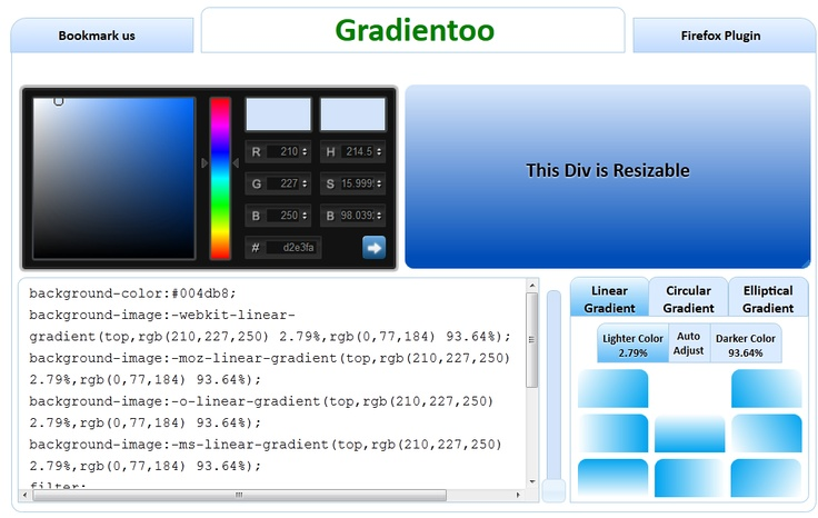 Generate #CSS #Gradient Backgrounds Without Using Images: http://gradientoo.com/ brilliant tool