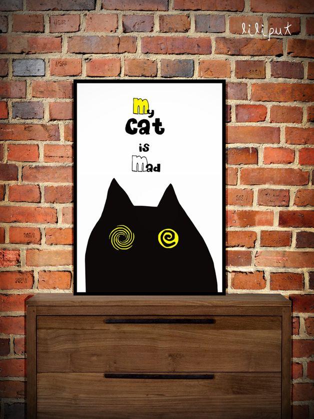 #niezchinzpasji Grafika, Obrazek, Ilustracja Mad Cat A3 - LILIPUTakcesoria - Ilustracje