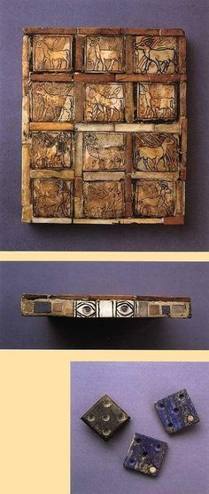 Game board found in the King's Grave (PG 789) similar to the game found in Queen Pu-abi's tomb (PG 800).  Top:  Playing squares with an animal theme,rather than the abstract designs of Pu-abi's board.Middle :Side of the board with the eye motif so common in Sumerian art,Bottom:Square game tiles,unlike Pu-abi's game,wich has round game tiles,in both cases the tiles have 5 dots on them