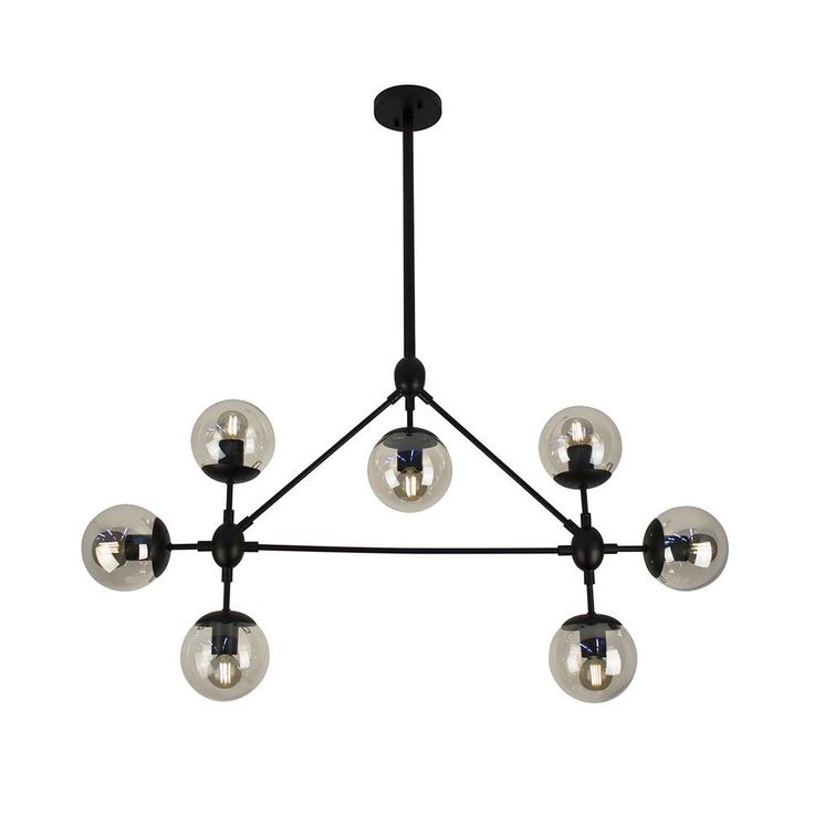 BAZZ 36 in. 7-Light Black Vintage and Industrial Design Pendant-P17189BK7B